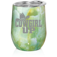 Marble Stemless Wine Tumbler Coffee Travel Mug Cup Glass Cowgirl Up With Hat