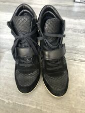ASH LIMITED WOMEN'S BLACK LEATHER HIGH TOP HIDDEN WEDGE SNEAKERS SIZE 10 Eur 40