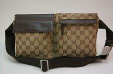 Gucci GG Canvas Monogram Waist Pouch Belt Bum Bag Fanny Pack Brown 1016a