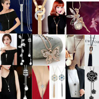 Fashion Women's Crystal Tassel Pendant Long Chain Sweater Necklace Jewelry Gift