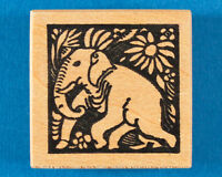 Elephant Square Rubber Stamp by Toybox - Wild Animal and Flower Design