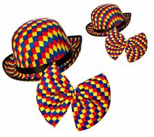 Circus Clown Bowler Hat + Bow Tie Multi Coloured Checked Adults Fancy Dress Adul