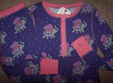 NWT Munki Munki Purple SOFT JERSEY Pajama Set ELEPHANTS CARRY FLOWER BASKETS S