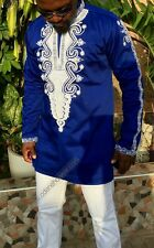 Odeneho Wear Polished Cotton Blue & White  Shirt. African Wear Clothing.  Size L