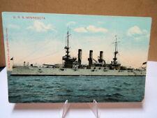 1907 Military Battleship Postcard USS Minnesota