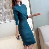 Women's V-neck Sweater Dress Knitted Pullover Long Sleeve Bodycon Dresses Autumn