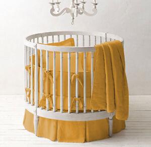 "42"" Dia Round Crib Baby Bedding Set Fitted Skirt Comforter Pillowsham Bumper"