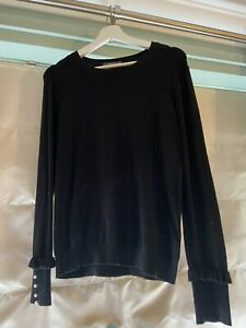 Ladies Zara Black Long Sleeve Jumper With Pearl Button Detail Size L