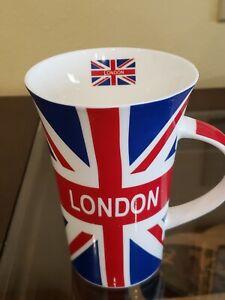 "London Union Jack Flag Coffee Cup 5"" Tall Fine Bone China"
