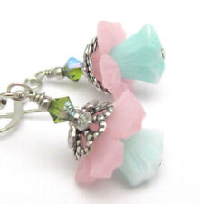 PASTEL FLOWER EARRINGS Frosted Lucite Crystal Aqua Glass Austrian Crystal Spring