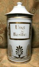 "Antique 1800's Apothecary French PARIS Hand Painted Porcelain Jar ""UNG: BASILIC"
