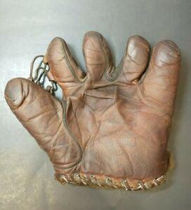 """Vintage 1930's Denkert Gene Rye Baseball Glove Mitt Split Finger """"Half Pint"""""""