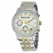 Michael Kors Ritz Silver Gold  Stainless Steel 36mm Women's Watch MK5057