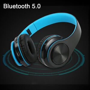 Blue Wireless Bluetooth Foldable Headphones Over Ear Hi-Fi Stereo Headset PC TV