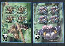 Aitutaki #539-42  (2008 WWF Butterfly set) in sheets of four VFMNH CV $25.00