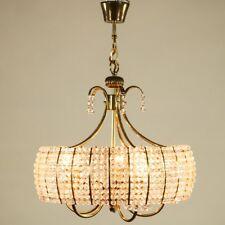 Alter Strass Kristall Lüster Hänge Lampe Messing Acryl Pendel Leuchte 60er Jahre