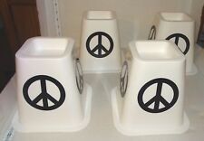 "Set of 4 White Plastic 6"" Bed Stands / Bed Risers Peace Sign Signs"