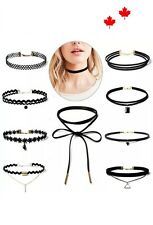 10Pc Set Fashion Necklace Women Tattoo Leather Neck Choker Necklace Jewelry