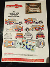 DECALS 1/43 FORD ESCORT WRC COSWORTH SAINZ RALLYE SAN REMO ITALIA 1997 RALLY
