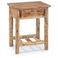 Wood Farmhouse End Table Rustic Cabin Side Chair Drawer Log Nightstand Bedside