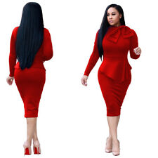 Sexy Women Casual Long Sleeve Midi Dress Bodycon Elegant Office Skirt Cocktail