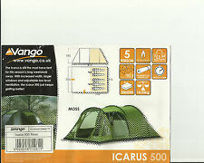 VANGO ICARUS 500 TENT 2013 AND FRONT CANOPY 2014.MOSS COLOUR.AS NEW.
