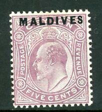 Edward VII Ceylon 5c Dull-Purple stamp with Maldives overprint (SG4) 1906 mint