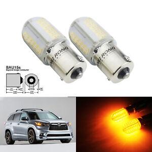 2x Ampoules BAU15s PY21W 8W COB LED Orange indicateurs arrière Avant Clignotant