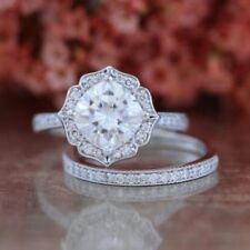 Certified 2.50Ct White Round Diamond 14K White Gold Halo Engagement Ring Set