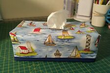 Lighthouse and Sailboat Theme Tissue Box Cover Handmade