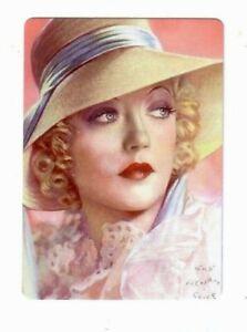 Art Deco  Lady Wearing a White Hat - Modern Wide Linen Swap Playing Card