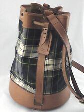 POLO Ralph Lauren Purse Bucket Shoulder Bag Vintage Plaid Tan Crossbody RARE