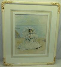 Original Watercolor Painting Victorian Lady Portrait Listed Artist Edwin Kiefer
