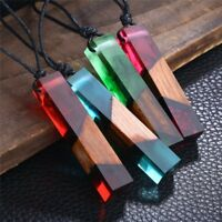 Handmade Resin Pendant Necklace Leather Rope Sweater Chain Wooden Women Jewelry