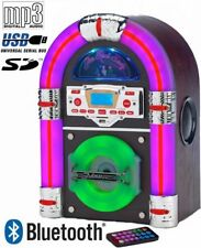 Steepletone Jive Rock 60 Jukebox Bluetooth Tabletop USB CD Rock Mini LED Sixty