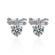 Women Fashion Jewellery 925 Sterling Silver Zircon Bowknot Ear Stud Earrings