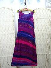 VINTAGE maxi boho tea dress pink purple batik sheer festival summer long slip  S