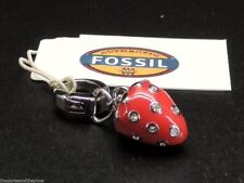 Fossil Strawberry Charm For Bracelet Necklace Stainless Steel Pave Crystal New!
