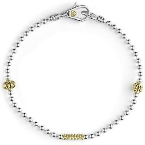 """LAGOS Caviar Icon Bracelet Sterling Silver with 18k Yellow Gold Accents 7"""""""