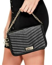 NWT GUESS DAHLIA WALLET WRISTLET BAG Large Black Logo Chain Strap Clutch GENUINE