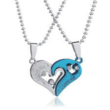 2PCS Set I Love You Forever Love Heart Shape Pendant Necklace Couple Jigsaw Gift