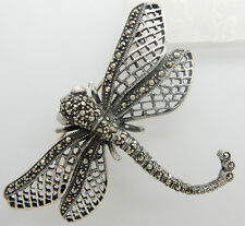 Marcasite Filigree Dragonfly Pin/Brooch Solid Vintage Sterling Silver/925