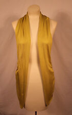 Fantazia Clothing Solid Lime Green Wool Blend Open Vest Sz S, Chartreuse