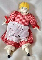 """Bisque Porcelain Doll Antique German Style 12"""" Red White Dress Clothing VTG"""