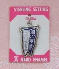 Vintage ROSCOMMON, MICHIGAN Sterling Setting, Silver Tone, ENAMEL Charm ON CARD