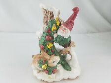 Fitz And Floyd Woodland Santa Elf Candle Holder Christmas Gnome Bunnies 1991