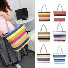 Summer Beach Shoulder Bag Handbag Fashion Strips Canvas Zipper Large Capacity