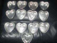 """Vtg Lot of 13 """"Bakers Dozen"""" Small 3"""" Aluminum Heart Jello Tart Cake Soap Molds"""