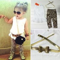 2PCS Kids Girl Outfit Toddler Dress Top Leopard Leggings Long Pants Clothes Set