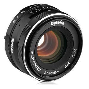 Opteka 50mm f/2.0 Lens for Sony a6500 a6300 a6000 a5100 a5000 a3000 NEX-6 5N